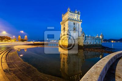 Belem w Lizbonie, w Portugalii, w nocy.