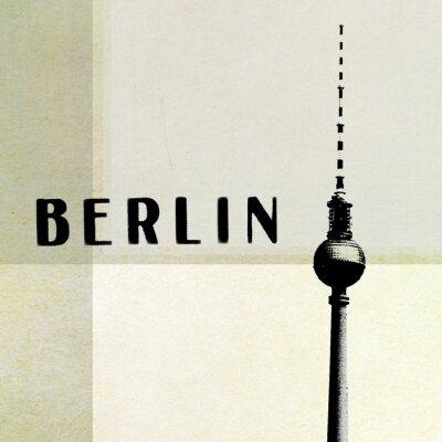 Obraz Berlin Archiwalne pocztówki - wieża telewizyjna i liter streszczenie backg