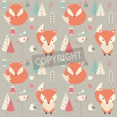 Obraz Bez szwu deseń z cute baby Christmas fox otoczony kwiatu dekoracji, ilustracji wektorowych