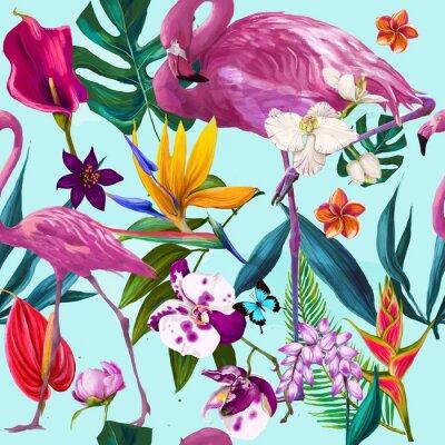Obraz bez szwu kwiatowy wzór mody egzotycznych
