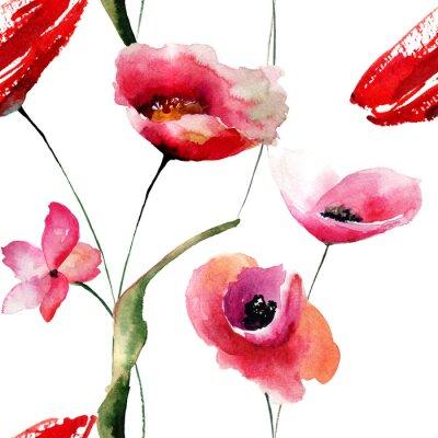 Obraz Bez szwu tapety z maku kwiaty