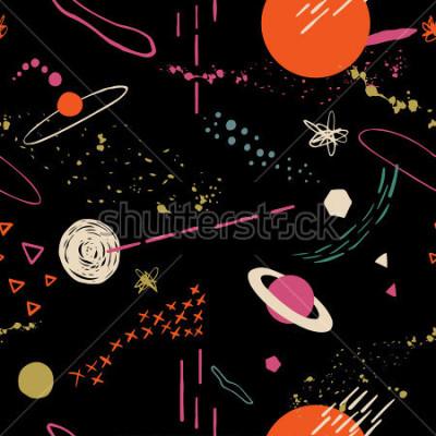 Obraz Bez wzoru z miejsca, gwiazd, galaktyk, konstelacji. Ręcznie na nakładające się tło dla projektu. Tekstylia, bloga, baner, plakat, papier pakowy.