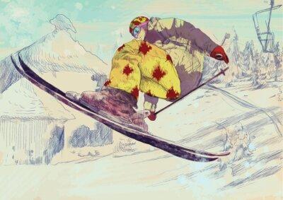 Obraz Bezpłatne narciarz styl, podstęp (jest to rysunek konwertowane do wektora)