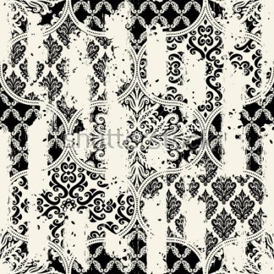 Obraz Bezproblemowa rocznika wzór z efektem ścierania. Płytki mozaikowe.