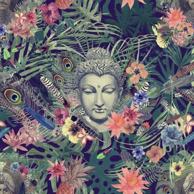 Obraz Bezszwowa ręka rysujący akwarela wzór z Buddha głową, maharajah, kwiaty, piórka, palmy.