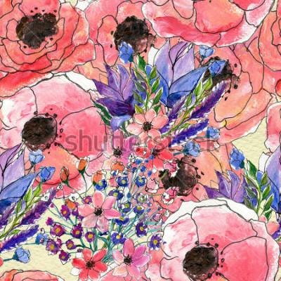 Obraz Bezszwowe kwiatowy wzór akwarela