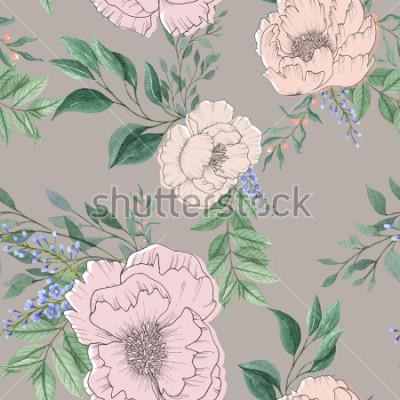 Obraz bezszwowe tło akwarela wymieszać kolorowy kwiat kwiatowy i liście z grafiką używaną do tekstury tła, papier pakowy, tkaniny lub tapety