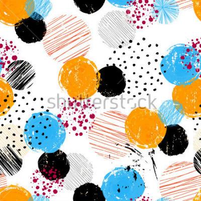 Obraz bezszwowe tło wzór, z koła / kropki, kreski i plamy