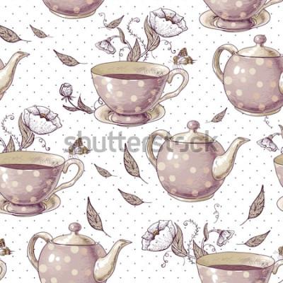 Obraz Bezszwowe tło z filiżankami herbaty, doniczki i kwiaty w stylu vintage.