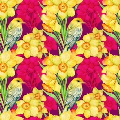Obraz bezszwowe wzór .illustration akwarela, kwiaty, kwiaty, narcyz i ptak wilga
