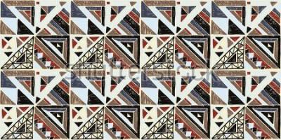 Obraz Bezszwowy geometryczny afrykanina wzór. Etniczny ornament na dywanie. Aztecki styl. Plemienna etniczna wektorowa tekstura. Haft na tkaninie. Indyjski, meksykański, ludowy wzór. Pikowanie, patchwork, ż