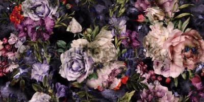 Obraz Bezszwowy kwiecisty wzór z kwiatami, akwarela