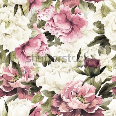 Obraz Bezszwowy kwiecisty wzór z różami na białym tle, akwarela.