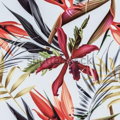 Obraz Bezszwowy tropikalny kwiatu, rośliny i liścia deseniowy tło
