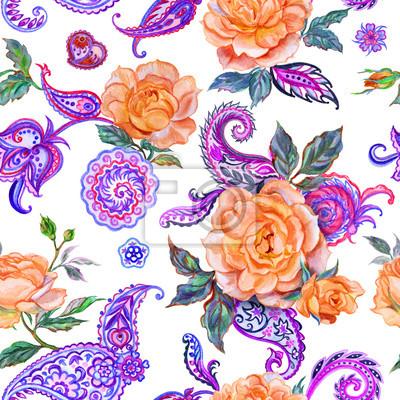 Bezszwowy wzór pomarańczowe róże i Paisley, akwarela obraz na białym tle.