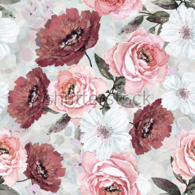 Obraz Bezszwowy wzór z kwiatami i liśćmi. Kwiecisty tło dla tapety, papieru i tkaniny. Akwarela z różowymi i burgundzkimi różami.