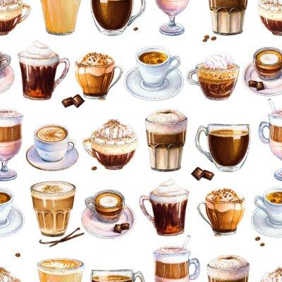 Obraz Bezszwowy wzór z różnymi kawowymi napojami na białym tle. Ilustracja espresso, latte i americano, cappuccino i innych smacznych kaw. Ręcznie rysowane przez markery, akwarela.