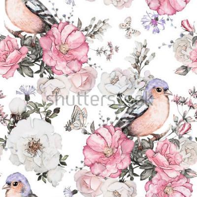 Obraz Bezszwowy wzór z różowymi kwiatami, ptakiem - finch i liśćmi na białym tle, akwarela kwiecistym wzorem, kwiatem wzrastał w pastelowym kolorze, płytką dla tapety, rocznik kartą lub tkaniną