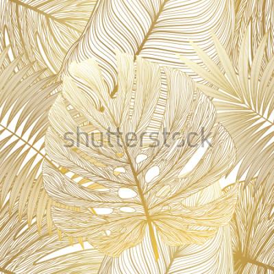 Obraz Bezszwowy wzór z tropikalną liść palmą. Ilustracji wektorowych.
