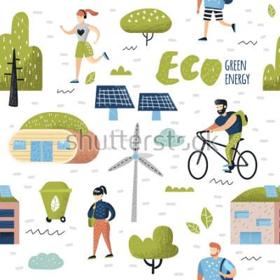 Obraz Bezszwowy wzór z Zielonym miasteczkiem. Ochrona środowiska. Eco City Przyszłe technologie na rzecz ochrony planety. Tło ekologii alternatywnej energii. Ilustracji wektorowych