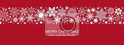 Obraz Biała i czerwona bezszwowa płatek śniegu granica, boże narodzenie projekt dla kartka z pozdrowieniami. Wektorowa ilustracja, wesoło xmas płatka śniegu chodnikowiec, sztandar, tapeta lub tło wystrój ,.
