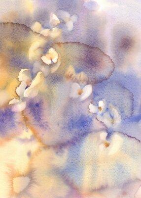 Obraz Białe orchidee na niebieskim akwarelą