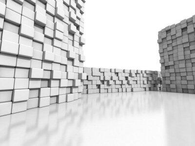 Obraz Białe ściany kostki 3d tle