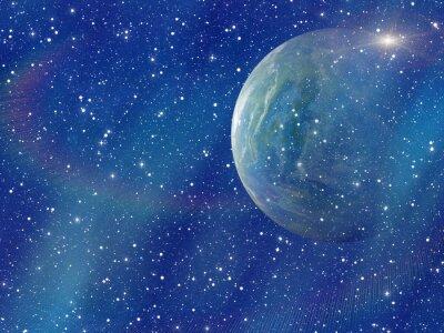Obraz biały błysk kosmicznej planety. kosmos niebo tła