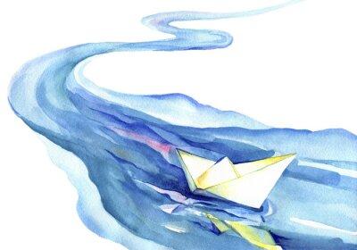 Obraz Biały papier łodzi pływających w wodzie. Akwarela rzeki i statku na białym tle.