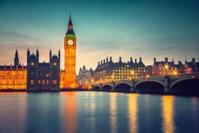 Obraz Big Ben i Westminster Bridge w Londynie o zmierzchu