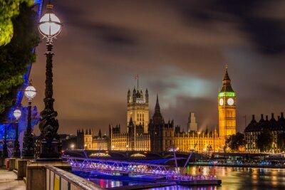 Obraz Big Ben i Westminster Bridge w nocy, Londyn, Wielka Brytania