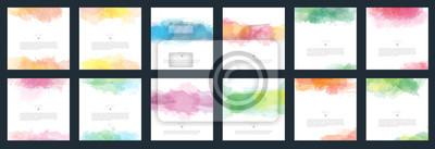Obraz Big set of vector light colorful watercolor background for poster, brochure or flyer