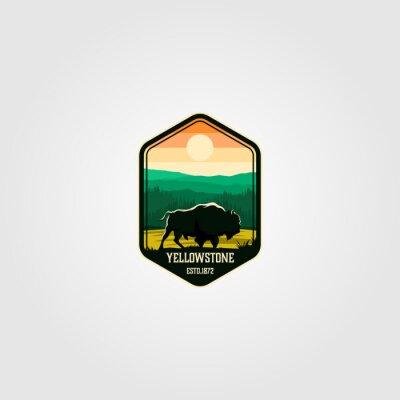 Obraz bison on yellowstone national park logo vector illustration