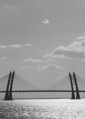 Obraz Black and white photography of modern car bridge over water.