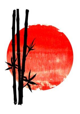 Obraz Black silhouette of bamboo plants on big red sun