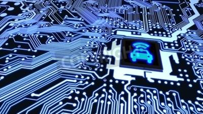 Obraz Błękitny obwód deski zbliżenie łączył jednostka centralna z rozjarzonym samochodowym wifi symbolem na odgórnej mądrze pojazdu pojęcia 3D ilustraci