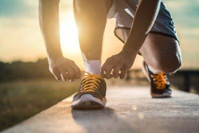 Obraz Bliska strzał z butami biegacza