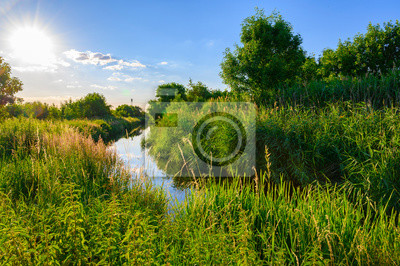 Obraz Blue sky over a little creek in the surrounding countryside of Berlin, Germany.