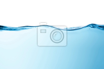 Obraz Blue water splashs wave surface with bubbles of air on white background.