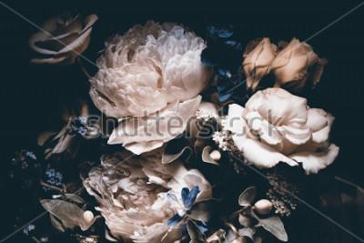 Obraz bouquet of pink peonies, dark background,