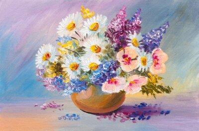 Obraz bouquet of summer flowers, still life oil painting