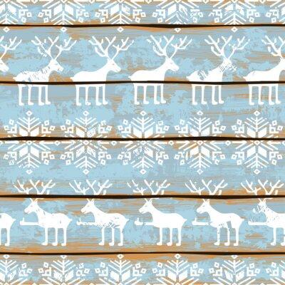 Obraz Boże Narodzenie bez szwu z jeleni i płatki śniegu
