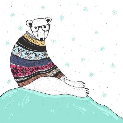 Obraz Boże Narodzenie karty z cute hipster niedźwiedzia polarnego. Miś z Fair Isle