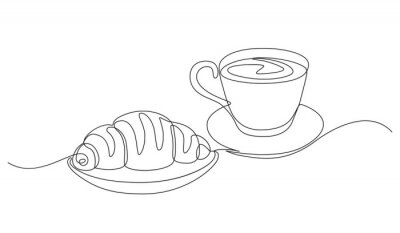 Obraz breakfast with croissant and coffee drawn in one line style.