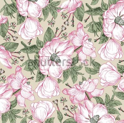 Obraz Brier, róża psa, róża biodra. Klasyczny wzór. Piękne białe realistyczne kwitnące kwiaty na białym tle baroku. Tło. Grawerowanie rysunku. Tapeta odręczna. Ilustracja wektorowa w stylu wiktoriańskim.