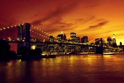 Obraz Brooklyn Bridge i Manhattan o zachodzie słońca, New York
