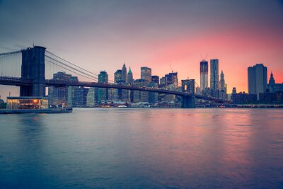 Obraz Brooklyn Bridge i Manhattan o zmierzchu