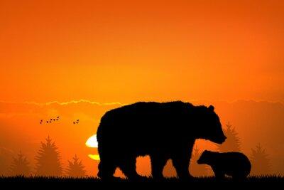 Obraz brunatny i dziecko niedźwiedź w lesie