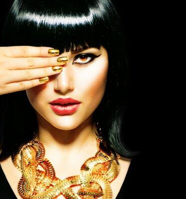 Obraz Brunetka Egyptian Woman.Golden Akcesoria