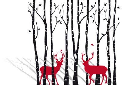 Obraz brzozy z jeleni Bożego Narodzenia, wektor